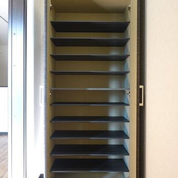 靴箱はドアの反対側に。1段に3足ほどの大きさです。