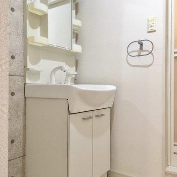 コンクリ風の壁に、スマートな独立洗面台がよくお似合い。(※写真は2階の同間取り別部屋のものです)