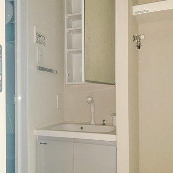 洗面台は嬉しい独立。小物もしまえますよ。※写真は8階の反転間取り別部屋のものです