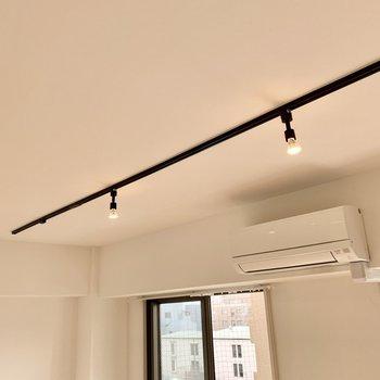 リビングの照明はライティングレールを採用。照明にもとことんこだわりたいな。