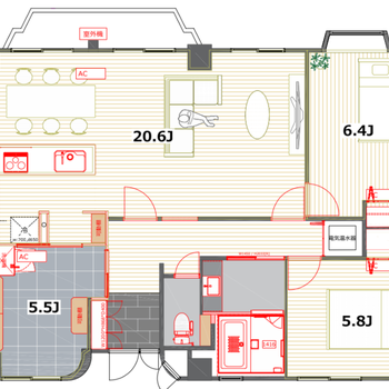 リビングは20.6帖とかなり広々。それぞれの洋室もゆったりしていてさらにはランドリールームも新設します。