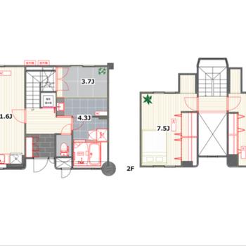 メゾネットタイプの2LDK。それぞれのお部屋がゆったりしています。1階にはランドリールームも新設。