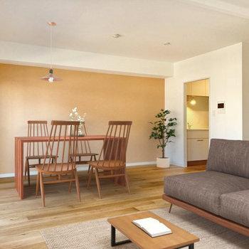 【完成イメージ】アクセントのクロスはヌードベージュで。家具を置くと一層良い雰囲気に。
