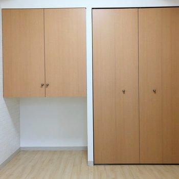 【洋室】左側の収納下のスペースは色々な使い方ができますね。