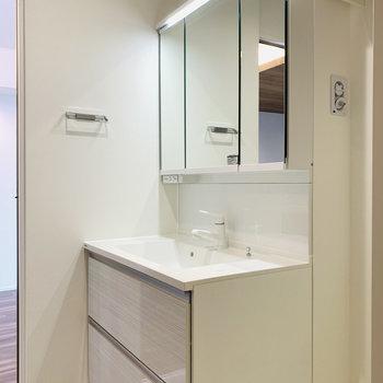 入ってすぐに洗面所。すっきりとしたデザインがお洒落です。