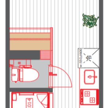 お部屋は5.6帖ほどのコンパクトサイズ
