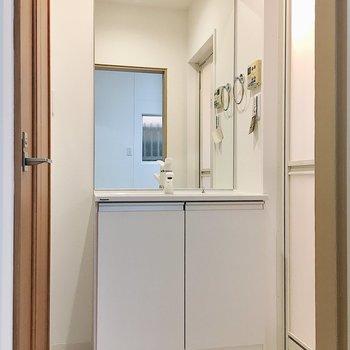 大きめの鏡が使いやすそう〜!脱衣スペースは扉がないので突っ張り棒でカーテンを付けても◎