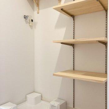 可動式の玄関収納。となりには洗濯機置き場があります。