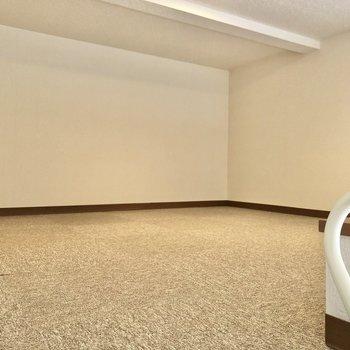 カーペットになっているので、そのままごろんと横になっても気持ち良さそう。※写真は1階の反転間取り別部屋のものです