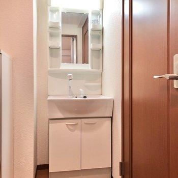 お風呂場の正面には独立洗面台があります。※写真は1階の反転間取り別部屋のものです