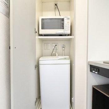 キッチンの奥に洗濯機置き場を発見!
