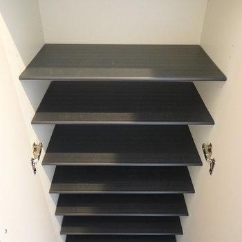 中身は1段に2足ほどのサイズ感の可動棚です。 (※写真は2階の反転間取り別部屋のものです)