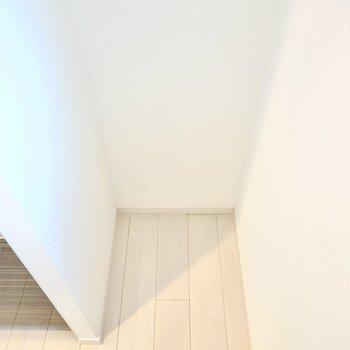 冷蔵庫置き場はスペースの奥に。 (※写真は2階の反転間取り別部屋のものです)