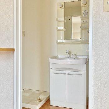 脱衣所入ると洗面台と洗濯機置き場。 (※写真は8階の反転間取り別部屋のものです)