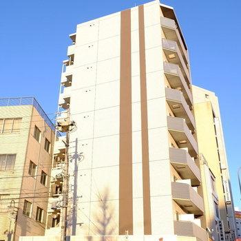 大通りにある大きなマンション