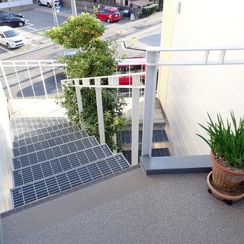 共用部】階段には緑もあって、ますますときめき。