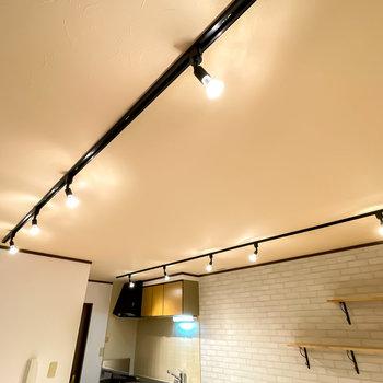 照明は黒いライティングレール。空間を引き締めつつ、暖かい雰囲気を演出してくれています。