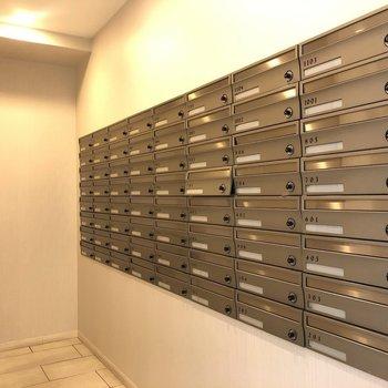 メールボックスはエレベーターの向かいにありました。