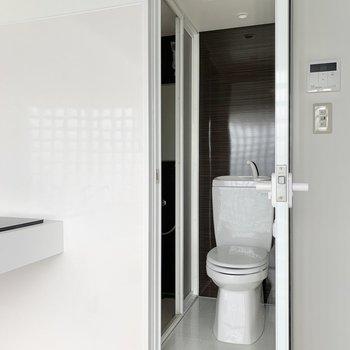 サニタリーもシックな雰囲気。浴室はお隣に。