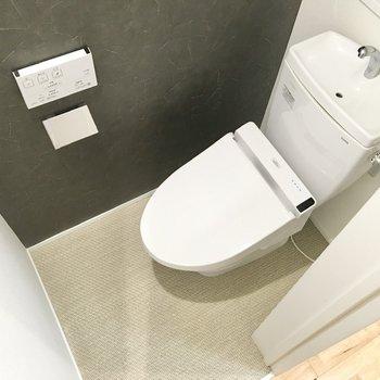 シックな見た目のトイレ。