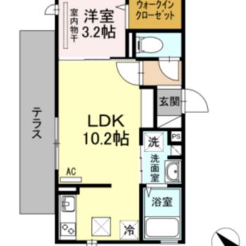 ひとり暮らしにオススメの広さ。寝室を設けられるのは嬉しいポイント。