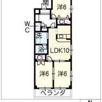 お部屋の間取りは3LDKです。
