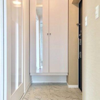 脱衣所から玄関を見た景色。手前にトイレがあります。(※写真は3階の反転間取り別部屋のものです)