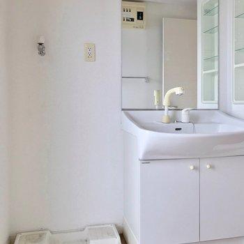 その手前には大きな鏡付きの洗面台。朝の支度も捗りそうです。(※写真は3階の反転間取り別部屋のものです)