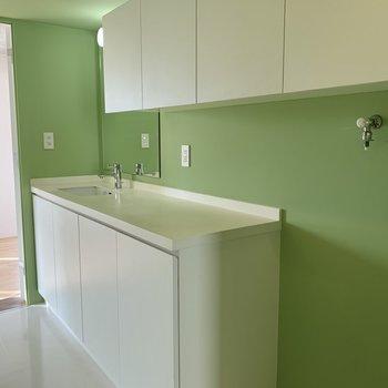 5帖の洋室からもLDKからも入ることができる水回り。広々洗面台の横に洗濯機置場が