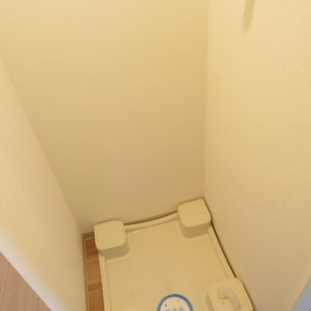 キッチンの向かいに洗濯機置き場(※写真は8階の同間取り別部屋のものです)