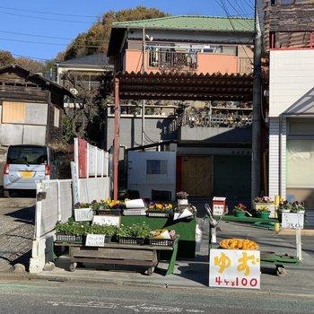 果物やお花の無人販売所も近くに。