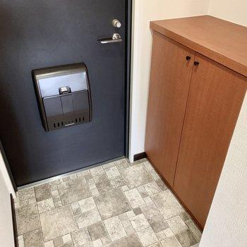玄関スペース。ブラックの扉がシックです。