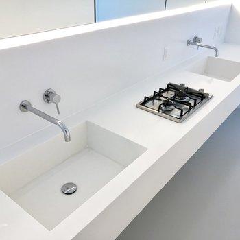 手前は洗面台、奥はシンクとして使うのが良さそう。※写真は3階の同間取り別部屋のものです