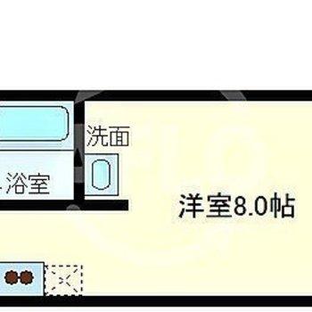 一人暮らしには広めの8帖居室。