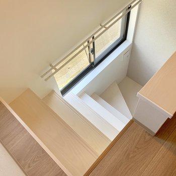 階段は手すりが無いので、登り降りは慎重に。