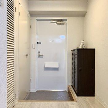 こちらが玄関。左に見えているドアが洗濯機置場です。