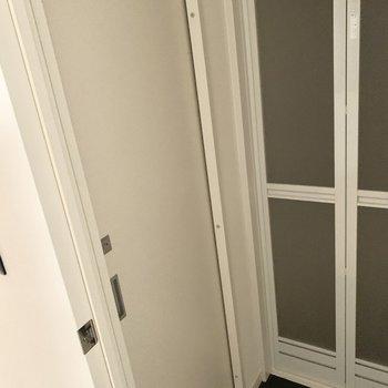 鍵もかけられる引き戸の中にトイレです。