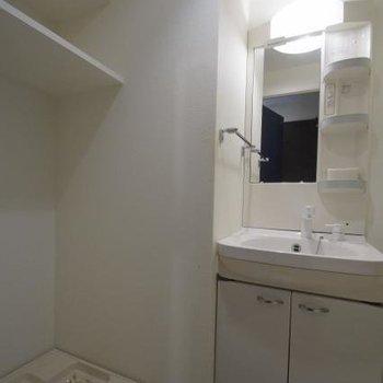 収納たっぷり洗面台です。(※写真は6階の同間取り別部屋のものです)