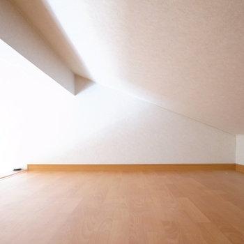 天井が斜めに下がってきているため、寝室にするのはむずかしそう。