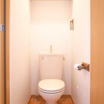 トイレはシンプル。ペーパーホルダーと床がかわいらしいです。