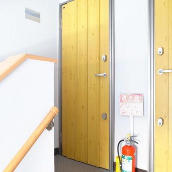 【共用部】玄関のドアはマスタードイエロー!実は階によって色が異なります。