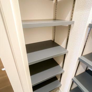 中には左側にも棚が。雑然としてしまう物はこちらに置くと目立ちにくいですよ。