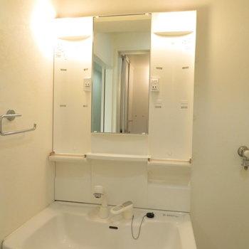 収納たっぷりの洗面台※写真は5階同間取りのもの