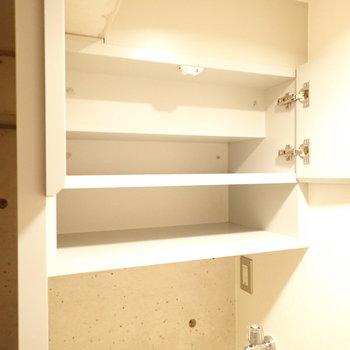 洗濯機上には収納スペース!