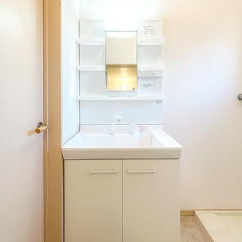 手前には新品の洗面台も!シャンプードレッサーなので忙しい朝の準備もラクに。