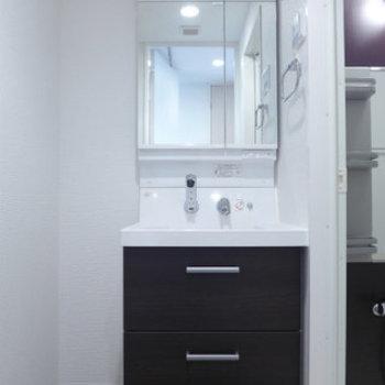洗面台も大きめで使い勝手◎!横にはスリムなラックを置きたい(※写真は10階の同間取り別部屋のものです)