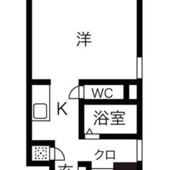 ゆったりとしたワンルーム、玄関の右側の独立洗面台があります