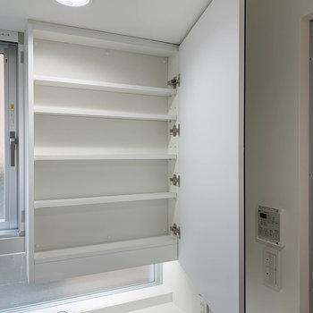 洗面台の鏡裏も収納に。※写真は3階の同間取り別部屋のものです