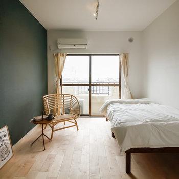 グリーンの色合いのお部屋です
