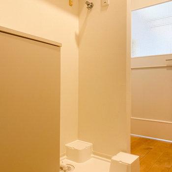 洗濯機置き場の上には棚がありますよ